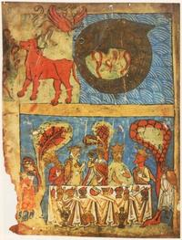 Abb. 4 Das Festmahl der Gerechten (Biblia Ambrosiana bzw. Mailänder Bibel; 13. Jh.).