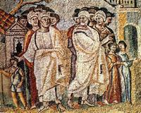 Abb. 1 Lot und Abraham trennen sich (Mosaik in St. Maria Maggiore, Rom; 5. Jh.).