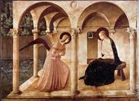 Abb. 1 Gabriel kündigt Jesu Geburt an (Fra Angelico; Fresco in San Marco, Florenz; 1438-1445).