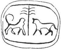 Aus: O. Keel / Chr. Uehlinger, Götter, Göttinnen und Gottessymbole (QD 134), Freiburg, 5. Aufl. 2001, Abb. 191; © Stiftung BIBEL+ORIENT, Freiburg / Schweiz