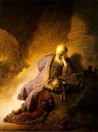 Abb. 2 Jeremia trauert über die Zerstörung Jerusalems (Rembrandt; 1630).