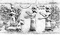 Aus: O. Keel / Chr. Uehlinger, Götter, Göttinnen und Gottessymbole (QD 134), Freiburg, 5. Aufl. 2001, Abb. 285a; © Stiftung BIBEL+ORIENT, Freiburg / Schweiz