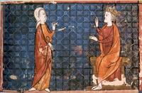Abb. 3 Judit vor Holofernes (hebräisches Manuskript aus Nord-Frankreich; 13. Jh.).