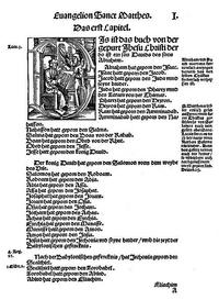 "Abb. 5 Matthäus 1 aus dem ""Septembertestament"" von Martin Luther (1522)."
