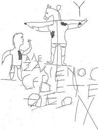 Abb. 1 Unbekannter Urheber, Alexamos verehrt seinen Gott, entstanden zwischen dem 1. und 3. Jahrhundert, Museum auf dem Palatin Rom, https://de.wikipedia.org/wiki/Datei:AlexGraffito2.png#filelinks; abgerufen am 12.10.2017