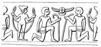 Aus: O. Keel / Chr. Uehlinger, Götter, Göttinnen und Gottessymbole (QD 134), Freiburg 5. Aufl. 2001, Abb. 31b; © Stiftung BIBEL+ORIENT, Freiburg / Schweiz