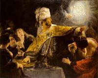 """Abb. 5 In Dan 5 gibt König Belsazar ein Gastmahl und sieht die wundersame Schrift """"Mene, Tekel, Uparsin"""" (Rembrandt van Rijn, 1635)."""