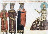 Abb. 2 Elifas (mit Bildad und Zofar) bei Hiob (Miniatur aus dem Codex Vatopédi; 12. Jh.).