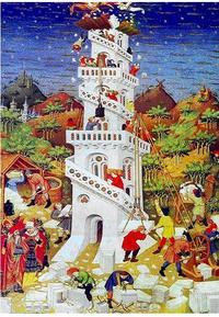 Abb. 1 Der Turmbau zu Babel (Französischer Meister im Stundenbuch des Herzogs von Bedford; 1423).