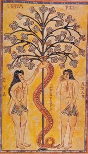 Abb. 1 Der Sündenfall (Codex Vigilanus; 11. Jh.).