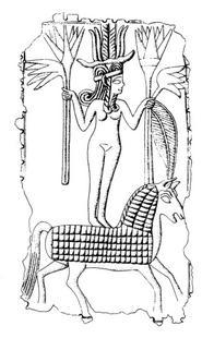 Aus: O. Keel / Chr. Uehlinger, Götter, Göttinnen und Gottessymbole (QD 134), Freiburg, 5. Aufl. 2001, Abb. 71; © Stiftung BIBEL+ORIENT, Freiburg / Schweiz