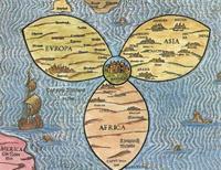 """Abb. 3 Jerusalem als Zentrum der Welt. """"Die Welt als Kleeblatt"""" von Heinrich Bünting (1581)."""