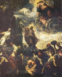 Abb. 7 Mose lässt Wasser aus dem Felsen sprudeln (Tintoretto; 1577).
