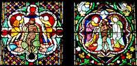 Abb. 3 Der Taufe Jesu, rechts, entspricht links die heilende Waschung Naamans (Kölner Dom, Jüngeres Biblfenster, 1280).
