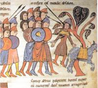 Abb. 1 Absaloms Tod (Bibel von San Isidoro in León; 960 n. Chr.).