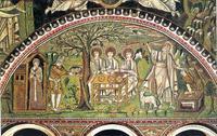 Abb. 1 Abraham erweist drei göttlichen Gästen seine Gastfreundschaft (rechts: Opferung Isaaks; Mosaik; San Vitale, Ravenna; 6. Jh.).