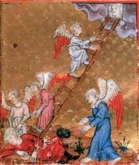 Abb. 3 Jakobs Traum von der Himmelsleiter (Goldene Haggada; 1310-1320 n. Chr.).