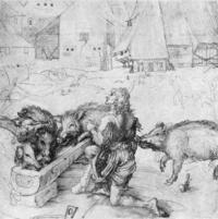 Dürer, Der verlorene Sohn (1497-1498): Wikimedia Commons, gemeinfrei