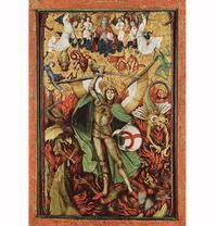 Abb. 4 Der Höllensturz: Erzengel Michael im Kampf mit Luzifer (Apk 12; Hans Leu d. Ä.; um 1500).