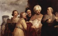 Abb. 2 Elisa lehnt Naamans Geschenke ab (Pieter de Grebber, 1637).