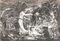 Abb. 1  König Saul (links) kommt zur Frau von En-Dor, die im Zentrum steht. In Zeiten der Hexenverfolgung wurde sie als Hexe dargestellt (anonymer Kupferstich nach einer Zeichnung von Jan van de Velde, ca. 1593-1641).