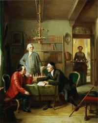 Abb. 2 Lessing (Mitte) und Lavater (rechts) zu Gast bei Moses Mendelssohn (Gemälde von Moritz Daniel Oppenheim; 1856).