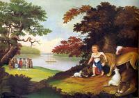 Abb. 4 Edward Hicks, Das Königreich des Friedens (1840) – der Tierfriede realisiert sich aktuell darin, dass William Penn mit den Indianern Frieden schließt.