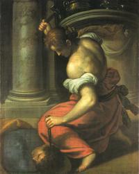 Abb. 2 Jaël schlägt Sisera einen Zeltpflock in den Kopf (Jacopo Palma der Jüngere; 1548-1628).