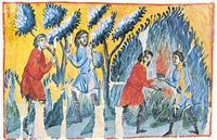 Abb. 1 Rodung des Gebiets der Perisiter durch die Söhne Josefs (Oktateuch-Handschrift, Athos, 13. Jh.).