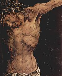 Abb. 1 Der gekreuzigte Christus als Identifikationsfigur für Leidende (Detail aus dem Isenheimer Altar von Matthias Grünewald; 1512-1516).