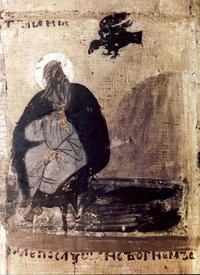 Abb. 2 Raben versorgen Elia (Ikone, Nowgorod, 14. Jh.).