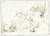 Abb. 5 Der Engel erscheint Hagar und Ismael in der Wüste (Rembrandt; Anfang 1650er).