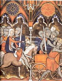Abb. 1 Debora und Barak ziehen in den Krieg (Psalter des Hl. Ludwig; 13. Jh.).