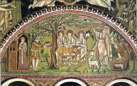 Abb. 2 Göttlicher Besuch bei Abraham und Sara (Mosaik in San Vitale in Ravenna; 6. Jh.).