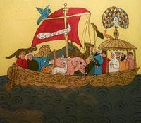 Abb. 7 Noah in der Arche (anonyme Hinterglasmalerei aus Tunesien; 20. Jh.).