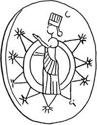 Aus: O. Keel / Chr. Uehlinger, Götter, Göttinnen und Gottessymbole (QD 134), Freiburg, 5. Aufl. 2001, Abb. 288a; © Stiftung BIBEL+ORIENT, Freiburg / Schweiz