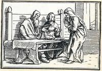 """Abb. 1 In Silo versucht Elkana, die weinende Hanna zu trösten: """"Bin ich nicht besser für dich als zehn Söhne?"""" (Biblia sacrosancta; 16. Jh.)."""