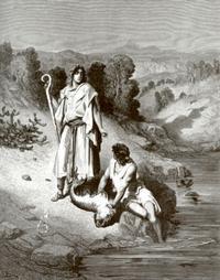 Abb. 4 Tobias fängt einen Fisch (Gustave Doré; 19. Jh.).