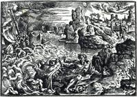 Abb. 5 Jona wird vom Wal verschlungen (links im Bild) und nach drei Tagen an Land ausgespieen (Melantrichova-Bibel 1570).