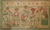 Abb. 4 Bindung Isaaks (Fußbodenmosaik in der Synagoge von Bet Alfa; 6. Jh.).