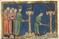 Abb. 1 Asa verbrennt Götzenbilder (Miniatur in der Weltchronik des Rudolf von Ems; 14. Jh.).