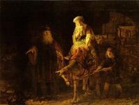 Abb. 3 Elisa, die wohlhabende Sunamiterin und ihr Sohn (Rembrandt, 1640).