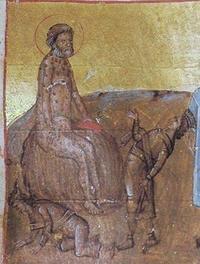 Abb. 2 Elihu wird vor Hiob zweimal als kleiner König dargestellt – einmal stehend und spottend, einmal auf allen Vieren wegkriechend (Ausschnitt aus einer Miniatur des Codex Hagíou Táphou 5; 13. Jh.).