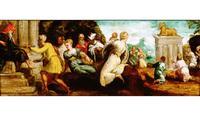 Abb. 4 Jacopo Tintoretto (bzw. ein Schüler), Die Anbetung des Goldenen Kalbes (1543/44). Das Bild prangert die Aufstellung des Reiterstandbilds Colleonis als Tanz um das Goldene Kalb an.