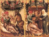 Abb. 3 Isaak beauftragt Esau, aber segnet Jakob (Meister Bertram; 14. Jh.).
