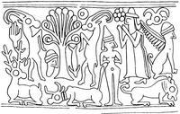 Aus: O. Keel / S. Schroer, Schöpfung. Biblische Theologien im Kontext altorientalischer Religionen, Freiburg / Göttingen 2002, Abb. 30; © Stiftung BIBEL+ORIENT, Freiburg / Schweiz