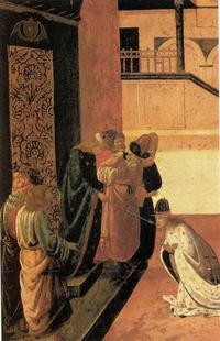 Abb. 4 Der König zeigt mit dem Zepter auf Ester und schenkt ihr Leben; die Szene wird als Zeichen der Gnade vielfach dargestellt (Est 4,11; 5,2; Jacopo del Sellaio; 15. Jh.).