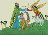 Abb. 6 Opferung Ismaels (anonyme Hinterglasmalerei aus Tunesien; 20. Jh.).