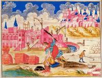 Abb. 3 Mose tötet einen Ägypter (Jüdische Haggada aus Mähren; Tschechischer Maler; um 1740).
