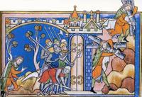 Abb. 6 Die Heldentaten Simsons (Kreuzritterbibel Heinrichs IX.; 13. Jh.).